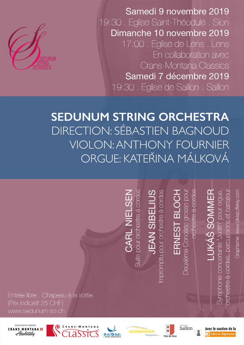 Concert 7. 12. 2019: Impromptu for string orchestra - Sibelius, Suite for string orchestra - Nielsen, Nigun for violin and strings - Bloch Concerto Grosso no. 2 - Bloch